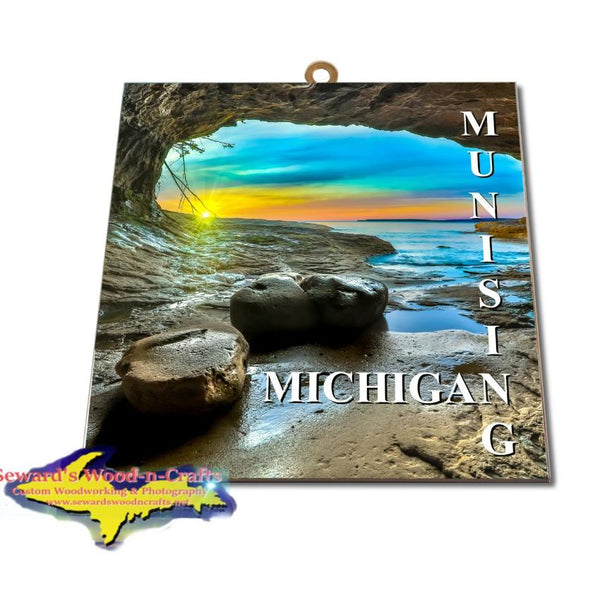 Michigan Made Artwork Michigan's Upper Peninsula Munising Michigan Sunset Photo Tile Yooper Gifts