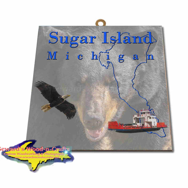 Michigan Made Artwork Sugar Island Michigan Black Bear Hanging Photo Tiles Yooper Gifts