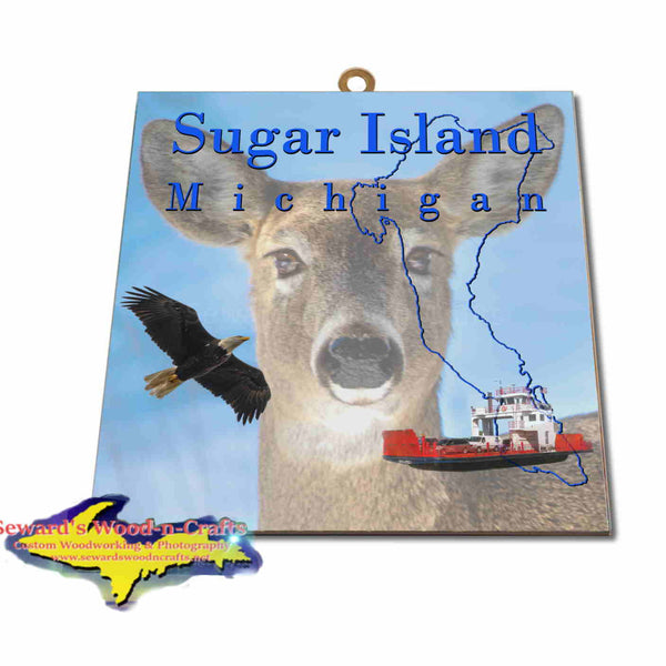 Michigan Made Artwork Sugar Island Michigan Deer Hanging Photo Tiles