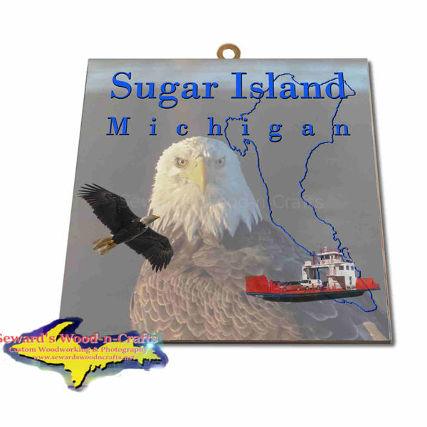 Michigan Made Artwork Sugar Island Michigan Eagle Hanging Photo Tiles