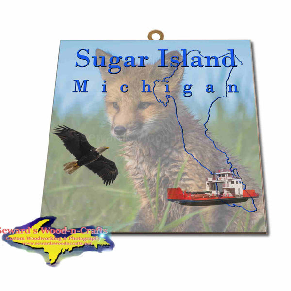 Michigan Made Artwork Sugar Island Michigan Red Fox Hanging Photo Tiles