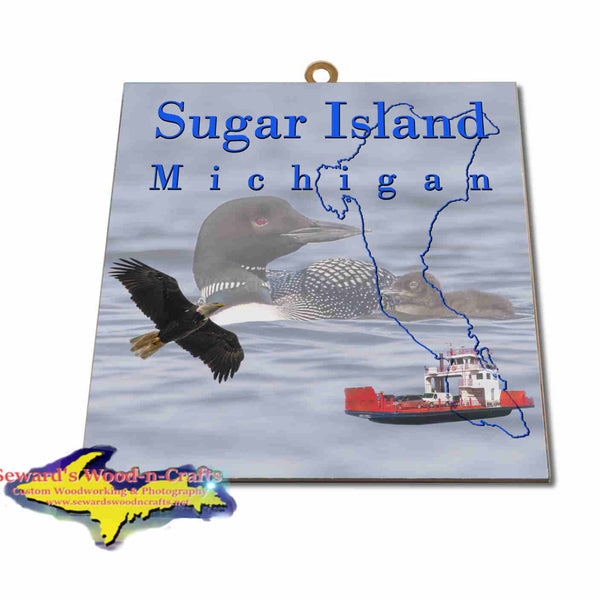 Michigan Made Artwork Sugar Island Michigan Loons Hanging Photo Tiles