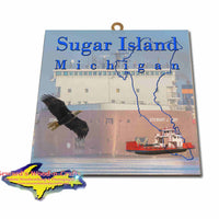 Michigan Made Artwork Sugar Island Michigan Stewart Cort Freighter Hanging Photo Tiles