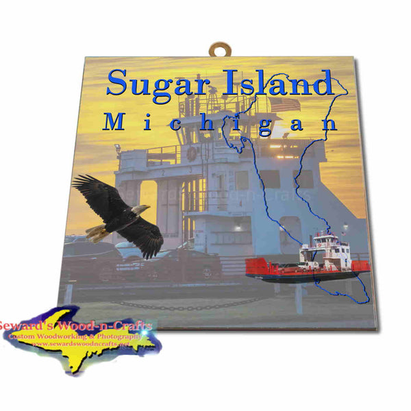 Michigan Made Artwork Sugar Island Ferry Michigan Hanging Photo Tiles