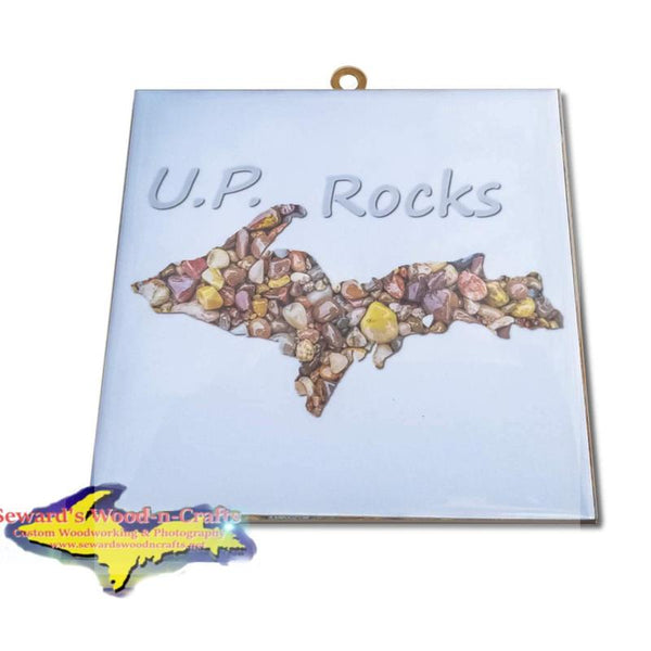 Michigan Made Artwork Michigan's Upper Peninsula U.P. Rocks Photo Tile. Inexpensive Michigan's Upper Peninsula gifts