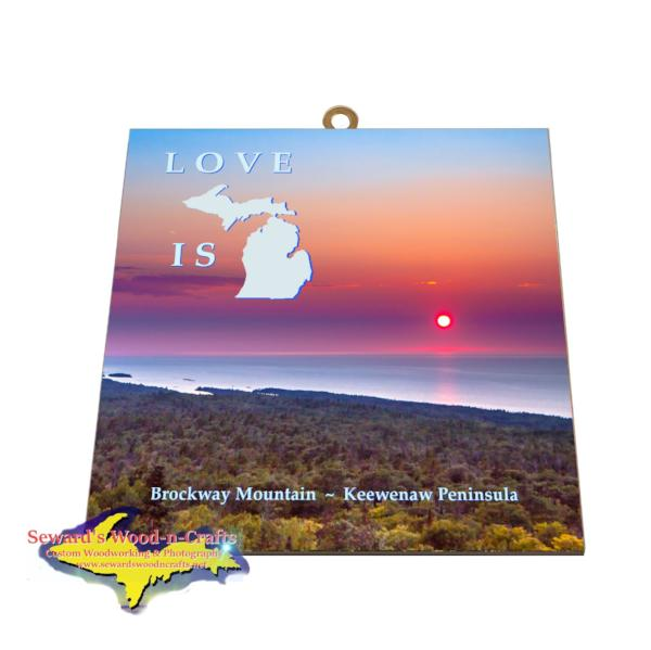 Brockway Mountain Sunset Photo Tile Michigan's Upper Peninsula Yooper Gifts
