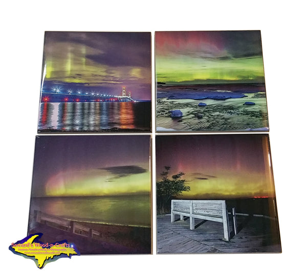 Michigan Made drink coasters Set Northern Lights