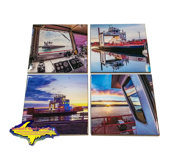 Michigan Coasters Sets of Sugar Island Ferry scenery for home or cabin decor.