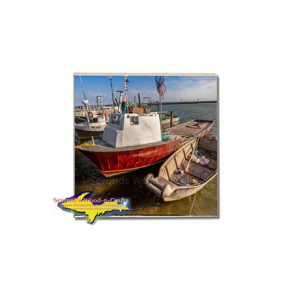 Michigan's old commercial fishing boats on coasters for gifts