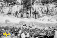Michigan Black & White Photography Ice Curtains Sand Point Munising Pictured Rocks Photos