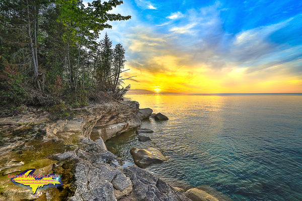 Michigan Landscape Photography Pictured Rocks Paradise Point Sunset Munising, Michigan