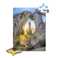 Michigan Jigsaw Puzzles Crisp Point Lighthouse Sunset Upper Peninsula Michigan Made