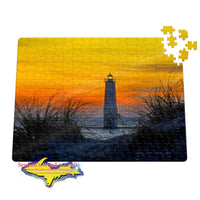 Frankfort Lighthouse Michigan Sunset Jigsaw Puzzle