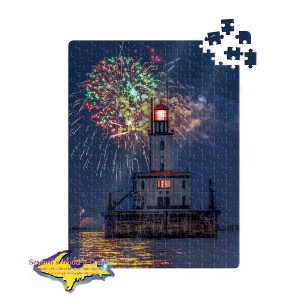 Great Lakes Lighthouses Jigsaw Puzzles Detour Reef Lighthouse in Detour and Drummond Island on Lake Huron in Michigan's Upper Peninsula