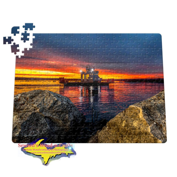 Michigan Jigsaw Puzzles Sugar Island Ferry Sunrise at Mission Point Sault Michigan
