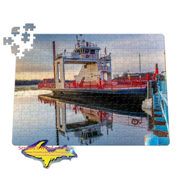 Michigan Jigsaw Puzzles Sugar Island Ferry reflections on the St. Mary's River Sault Michigan