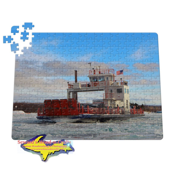 Michigan Jigsaw Puzzles Sugar Island Ferry winter ice on the St. Mary's River Sault Michigan