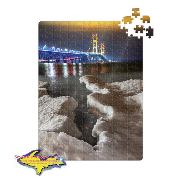 Michigan Made Jigsaw Puzzle Mackinac Bridge Winter Ice