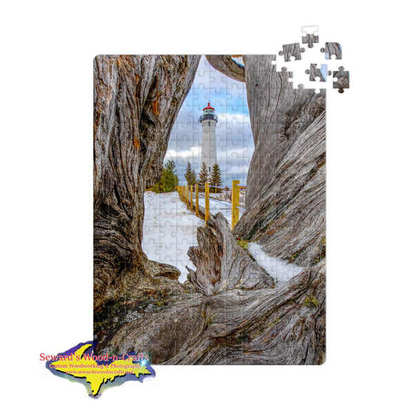 Michigan Jigsaw Puzzle Crisp Point Lighthouse Driftwood Winter 252 pc 11x14 Jigsaw Puzzles