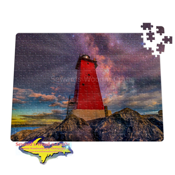 Manistique Lighthouse Milky Way Michigan Puzzles -5353