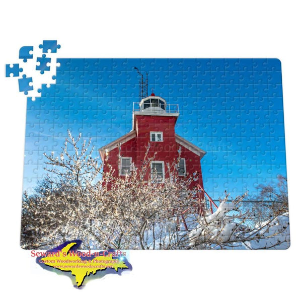 Michigan Jigsaw Puzzle Marquette Lighthouse Winter Ice Scene