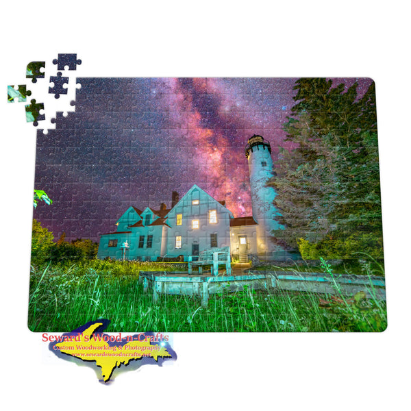 Michigan Puzzles Milky Way Over Iroquois Point Lighthouse Brimley, Michigan!