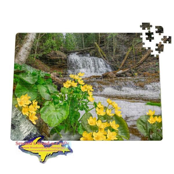 Michigan Jigsaw Puzzle Waterfalls Wagner Marsh Marigold