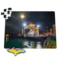 Michigan Jigsaw Puzzles Sugar Island Ferry Full Moon Sault Michigan Puzzle