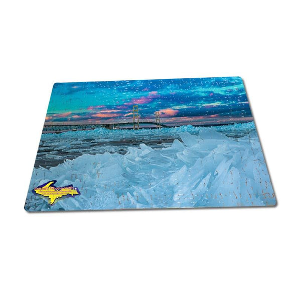 Michigan Puzzles 252 pc Mackinac Bridge Blue Ice Michigan Photography