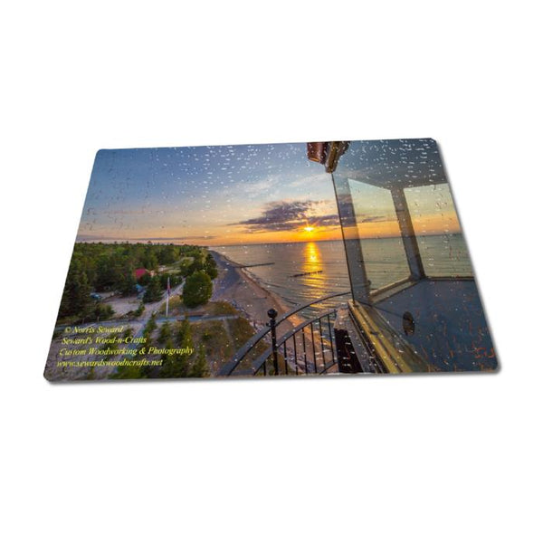 Michigan's Upper Peninsula Puzzles Sunset on top of Crisp Point Lighthouse Michigan Made Puzzles