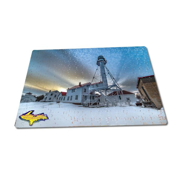 Michigan Puzzles 252 Piece Jigsaw Puzzle Winter Scene Whitefish Point Lighthouse