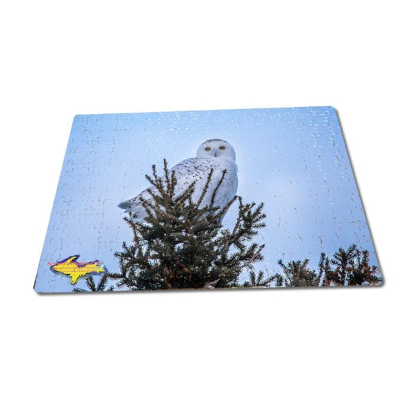 Michigan Made Jigsaw Puzzles Snowy Owl in pine tree Michigan Wildlife Puzzle