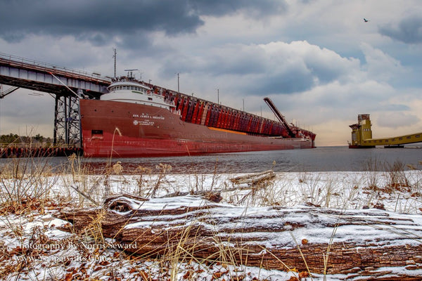 Great Lakes Freighters Photography M/V Hon. James L Oberstar at the Upper Harbor Ore Dock Marquette, Michigan
