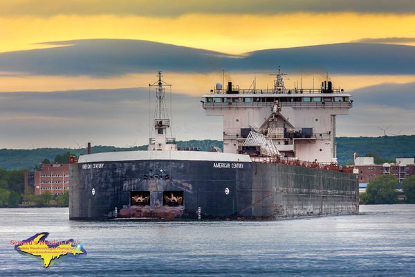 Great Lakes Freighters American Century Morning Sunrise Photos For Home Office Decor