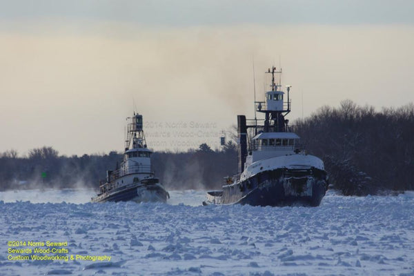 Great Lakes Freighter Ship Anglian Lady & Wilfred M Cohen Tugs In Ice 2014