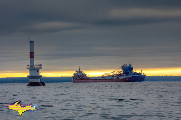 Great Lakes Freighters Photography Arthur M Anderson Sunrise at Light 26 Upper St. Mary's River Sault Ste. Marie