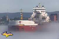 Great Lake Freighter CSL Laurentien on a foggy morning in Sault Ste. Marie, Michiagn