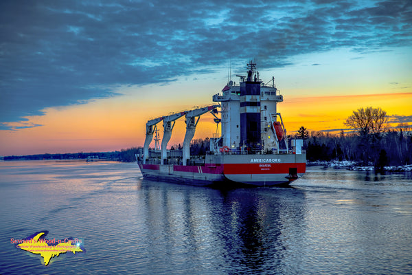 Great Lakes Freighters Sunset on the Americaborg at Mission Point Sault Michigan