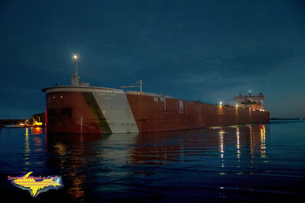 Great Lakes Freighters Photography Edwin H Gott Winter Night at Mission Point Sault Michigan