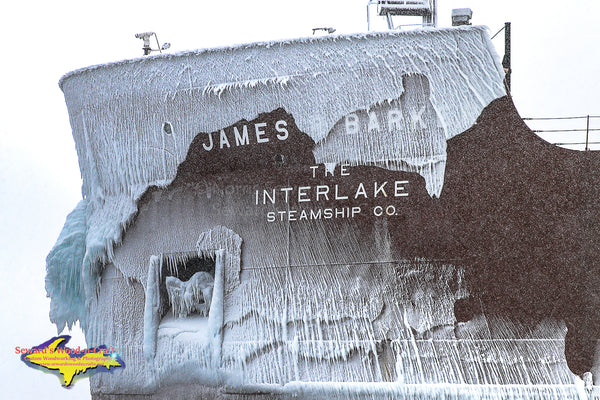 James R. Barker Iced Photo Great Lakes Freighter Photography Images For Sale