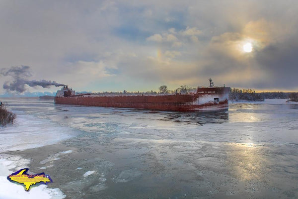 Great Lakes Freighter James R. Barker Winter Sunset Photo