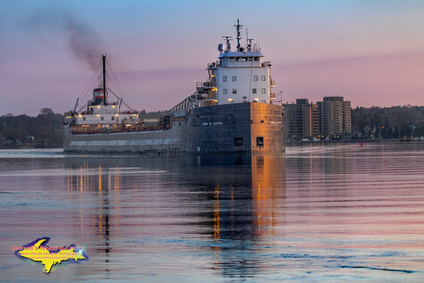 Great Lakes Freighters Photography John D. Leitch approaching Mission Point Sault Ste. Marie Michigan Photos