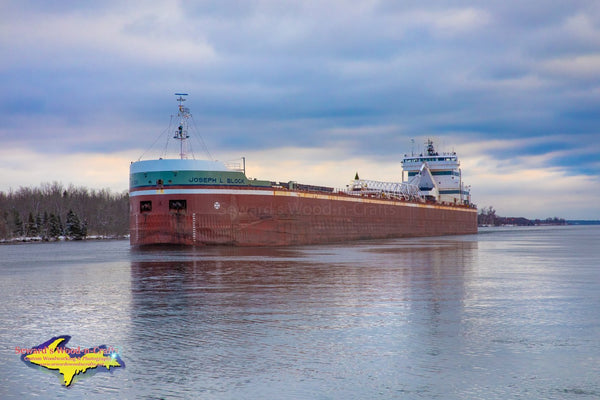 Great Lakes Freighter Joseph L Block Heading up the Little Rapids Cut Sault Ste. Marie, Michigan