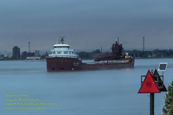 Great Lakes Freighter Kaye E. Barker Fog Photo, Canvas, Metal Prints & Photo Gifts Home/office decor for boat fans.