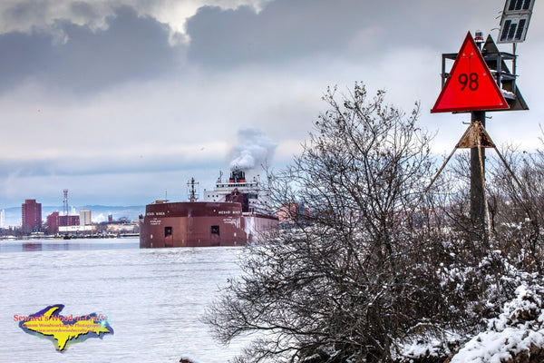 Great Lakes Freighters Mesabi Miner Leaving The Lower Harbor Sault Michigan