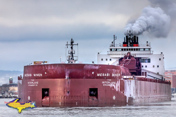 Great Lakes Freighters Mesabi Miner At Mission Point Sault Michigan