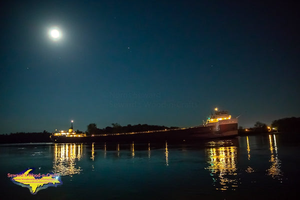 Great Lakes Freighters Photography Free Stock Images Full Moon Over Rising Over The Ojibway Ship Photo