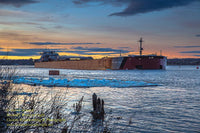 Great Lake Freighter Photo Presque Isle Sunset Image For Boat Nerd Lovers
