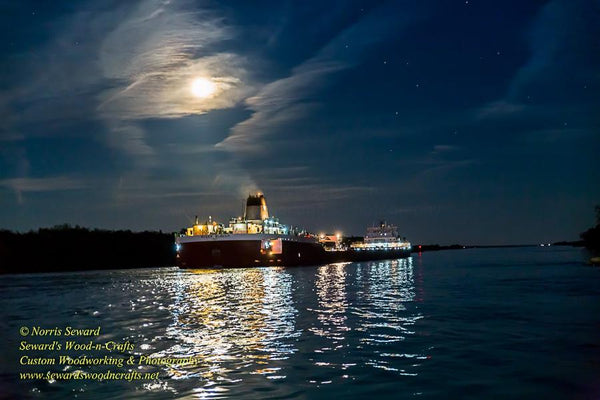 Great Lakes Freighter Roger Blough In The Moonlight Photo Image For Boat Fan Gifts