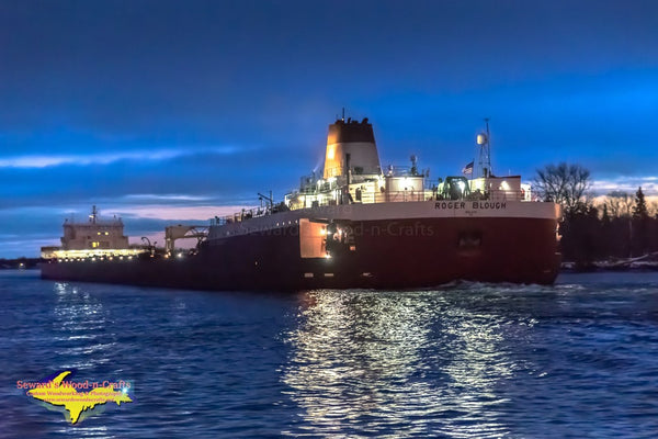 Great Lakes Freighters Roger Blough Reflections On The St. Mary's River Sault Michigan Photos